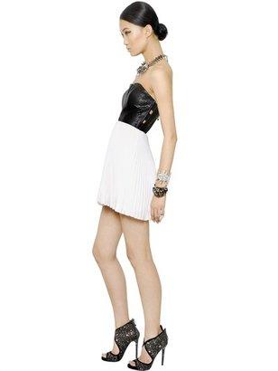 Philipp Plein Python Embossed Leather Plisse Dress