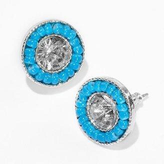 Vera Wang Princess tone simulated crystal and bead button stud earrings
