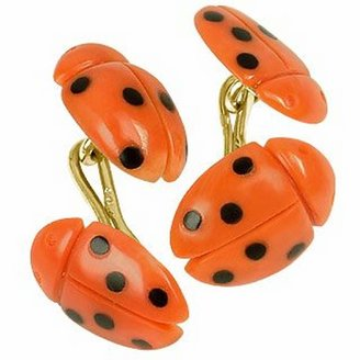 Forzieri Vintage Ladybug Coral and Onyx 18K Gold Cufflinks