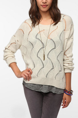 Urban Outfitters Staring at Stars Sheer Wave Stitch Pullover Sweater
