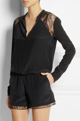 Maje Evening lace-trimmed silk playsuit