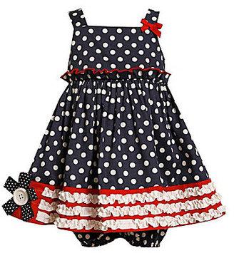 Bonnie Baby Newborn Ruched Woven Dot Dress