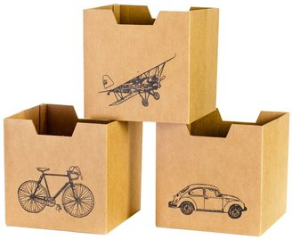 Sprout City Print Cardboard Cubby Bins (3 Pack)