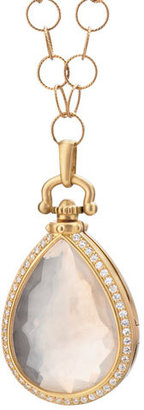 Monica Rich Kosann Snow Quartz & Diamond Teardrop Locket Necklace