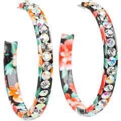 M&F Western Large Crystal Hoop Earrings