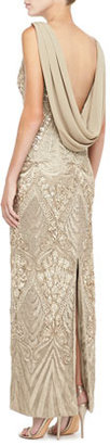 Sue Wong Sleeveless Draped Cowl-Back Gown