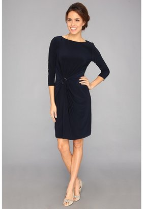 Adrianna Papell L/S Faux Wrap w/ Ring Dress (Eclipse) - Apparel
