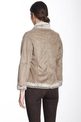 Hilary Radley Faux Fur Collar Zip Coat