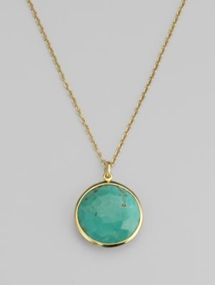 Ippolita Rock Candy Lollipop Turquoise & 18K Yellow Gold Pendant Necklace