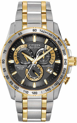 Citizen Pcat Mens Chronograph Multi-Function Atomic Time Two Tone Stainless Steel Bracelet Watch-At4004-52e