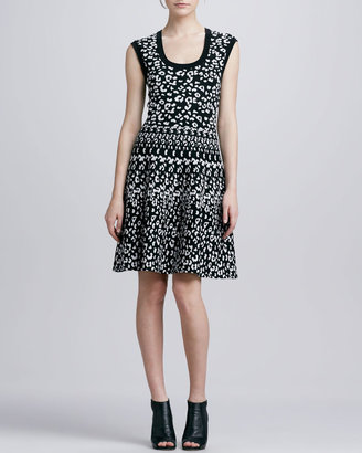 Rebecca Taylor Leopard-Print Stretch Dress