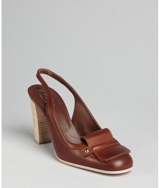 Tod's chocolate leather slingback stacked heel loafer pumps