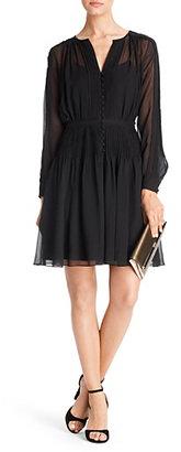 Diane von Furstenberg Tawney Pleated Chiffon Dress In Black