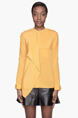 3.1 Phillip Lim Saffron yellow Draped Utility epaulet blouse