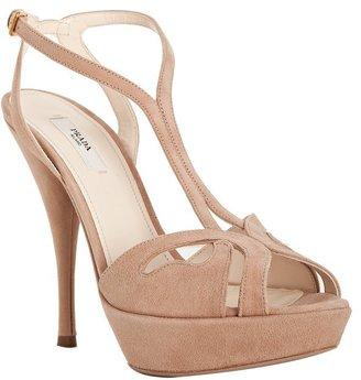 Prada nude suede platform t-strap sandals