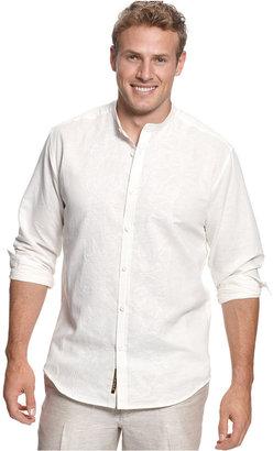 Cubavera Big and Tall Shirt, Embroidered Linen-Blend Shirt