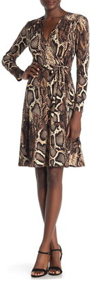 Donna Morgan Snakeskin Print Faux Wrap Jersey Dress