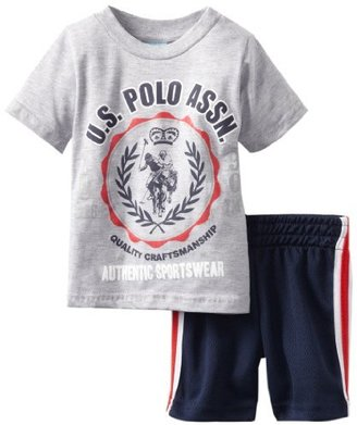 U.S. Polo Assn. Baby-Boys Infant Double Crew Neck T-Shirt With Short Sleeve And Mesh Short