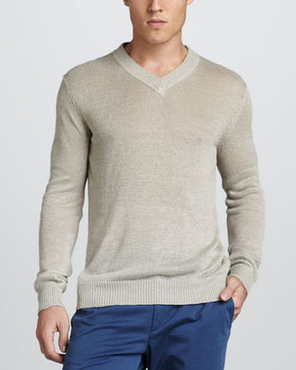Theory Aronn Linen V-Neck Sweater