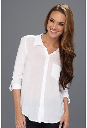 C&C California Woven/Knit Mix Roll Sleeve Shirt (White) - Apparel
