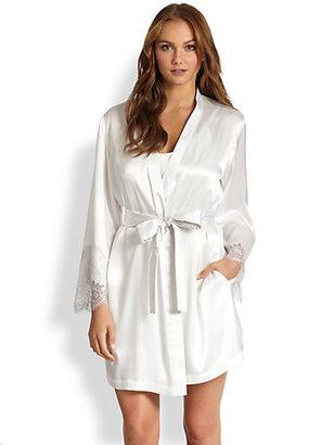Oscar de la Renta Sleepwear Short Satin Robe