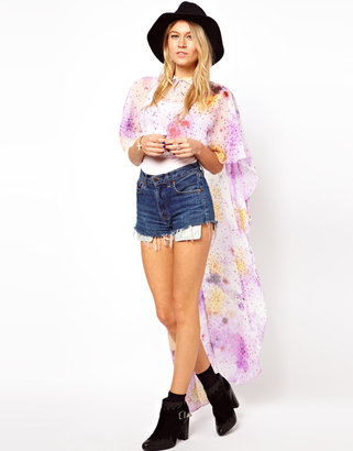 Asos Cape With Dramatic Drape In Stardust Print