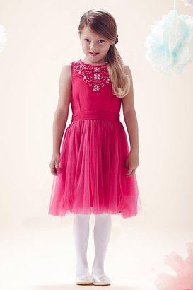 Little MisDress Pink Embellished Lace Skirt Dress