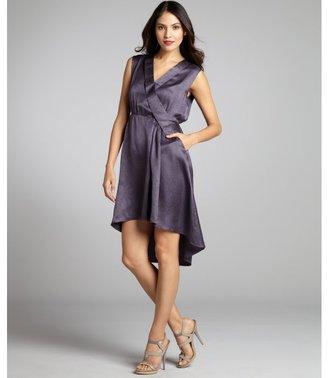 Geren Ford galvanized eggplant silk pleated high-low hem v-neck dress