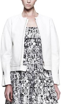 Jil Sander Boxy Collarless Leather Jacket