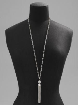 New York & Co. Silvertone Long Tassel Pendant Necklace