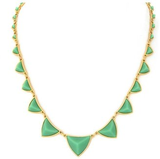 House Of Harlow Pyramid Station Necklace with Mint Green Resin