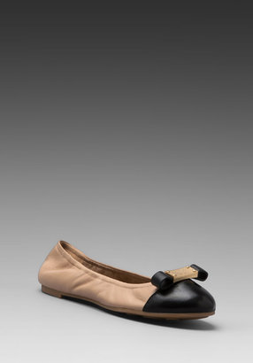 Marc by Marc Jacobs Core Nappa Lamb Tuxedo Logo Plaque Soft Ballerina Flat in Nude/Black