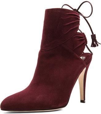 Brian Atwood Aron Suede Booties in Bordeaux