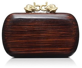 Tory Burch Wood Kissing Elephant Minaudiere