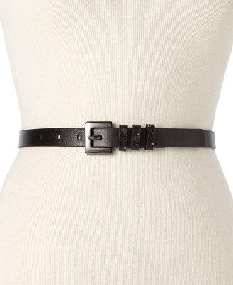 Nine West Studded Keeper Leather Belt