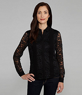 Jones New York Collection Lace Pintuck Blouse