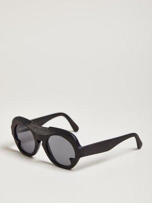 Thamanyah Men's Round Temple Water Buffalo Horn Sunglasses