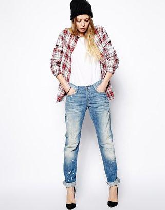 Asos Brady Low Rise Slim Boyfriend Jeans in Mid Wash Blue - Blue