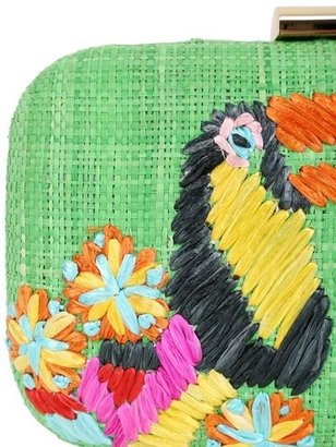 Serpui Marie Toucan Embroidered Straw Clutch