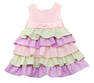 Rare Editions Girls' 2T-4T Pink Colorblock Tiered Dress