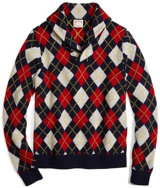 Brooks Brothers Lambswool Argyle Shawl Collar Pullover