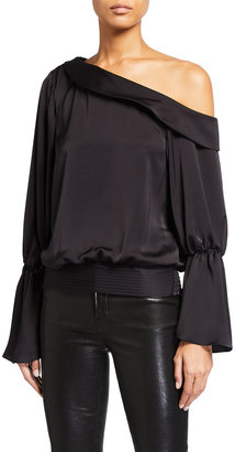 Ramy Brook Sammy One-Shoulder Flare-Sleeve Satin Top