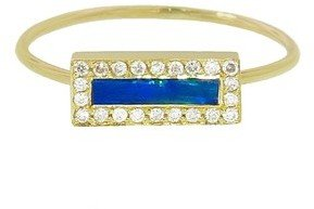 Jennifer Meyer Opal Inlay Bar with Diamonds - Designer Yellow Gold Ring