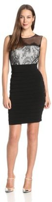 Jax Women's Lace and Jersey Dress With Sheer Detail