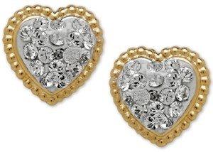 Macy's Children's 14k Gold Earrings, Crystal Heart Earrings