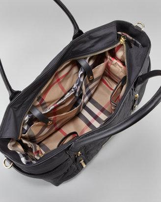 Burberry Nylon Double-Zip Diaper Tote Bag, Black
