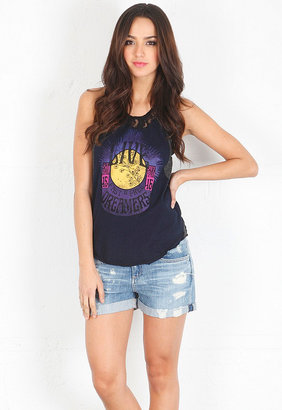 Free People Lace & Stripe Graphic Tank in Midnight Combo