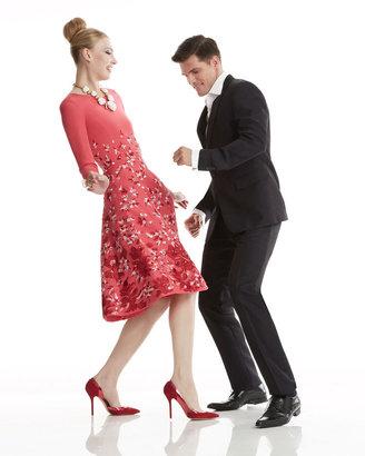 Oscar de la Renta 3/4-Sleeve Floral Silk Dress