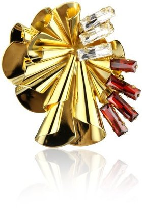 "Lee Angel Ella"" Gold-Plated Fluted Luxurious Crystal and Red Swarovski Baguette Brooch"