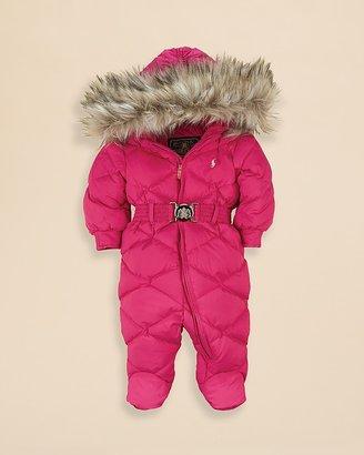 Ralph Lauren Infant Girls' Quilted Faux Fur Trim Snowsuit - Sizes 3-9 Months